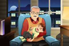 Grandfather holding his grandson. A vector illustration of grandfather holding his cute grandson Royalty Free Stock Image