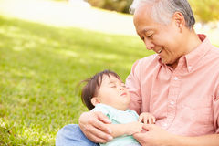 Grandfather Holding Sleeping Grandson In Park Stock Photo