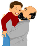 Grandfather holds grandson in hands. Vector illustration of a grandfather holds grandson in hands Stock Photo