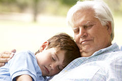 Grandfather Hugging Grandson In Park Stock Image