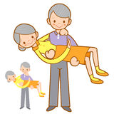 Grandfather hugging his wife with both hands. Home and Family Ch Stock Photo
