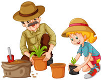 Grandfather and kid planting trees Stock Images
