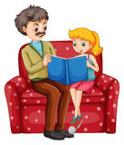 Grandfather and kid reading book together Stock Photography