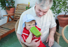 Grandfather with little baby boy Royalty Free Stock Photos