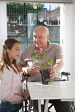 Grandfather looking at his granddaughter Stock Photos