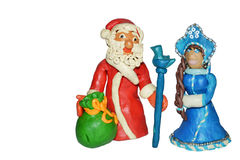 Grandfather Moroz and snow maiden Stock Photography