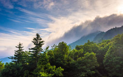 Grandfather Mountain in fog, near Linville, North Carolina. Stock Photography