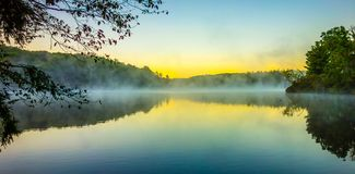 Grandfather Mountain Sunrise Reflections on Julian Price Lake in Royalty Free Stock Photos