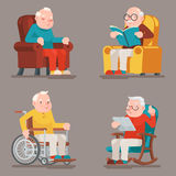Grandfather Old Man Characters Sit Sleep Web Surfing Read Armchair Wheelchair Adult Icons Set Cartoon Design Vector. Grandfather Old Man Characters Sit Sleep Web Stock Images