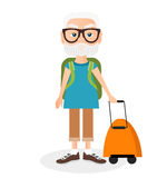 Grandfather with a packsack travel. Travelling with the knapsack. Vector illustration eps 10 isolated on white Royalty Free Stock Photo