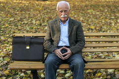 Grandfather portrait in park Stock Photography