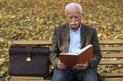 Grandfather portrait in park Stock Photos