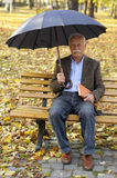 Grandfather portrait in park royalty free stock photo