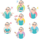 Grandfather pose expression. The expression of the face of grandfather and various poses Royalty Free Stock Photo