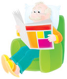 Grandfather reads a newspaper. Grandpa sits in a armchair and reads a fresh newspaper with latest news stock illustration