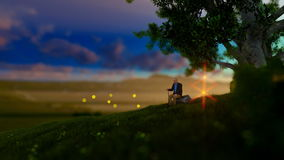 Grandfather resting under a tree on green meadow, flying fireflies. Grand father resting under a tree on green meadow, flying fireflies.mov, hd video stock video footage
