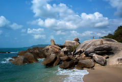Grandfather rock in Koh Samui. Grandmother and Grandfather Rocks - or Hin Yai/Hin Ta - are rocky outcrops on Lamai Beach. Often photographed and commented on.One royalty free stock photo