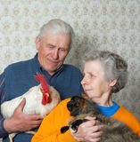 Grandfather with rooster and grandmother with puss Royalty Free Stock Photo