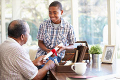 Grandfather Showing Document To Grandson Royalty Free Stock Image