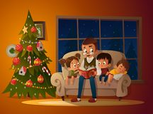 Grandfather sitting with grandchildren on a cozy sofa with the book, near Christmas tree. Reading and telling book fairy royalty free illustration