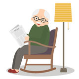 Grandfather sitting in rocking chair. Old man leisure time. Grandpa reading newspaper. Cute senior man at home. Vector illustratio Stock Image
