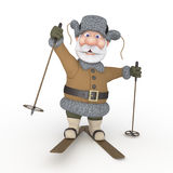 The grandfather on skis. Stock Images