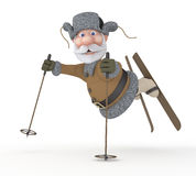 The grandfather on skis. Stock Photo