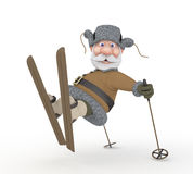 The grandfather on skis. Royalty Free Stock Photography