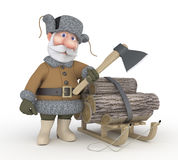 The grandfather with a sledge. Royalty Free Stock Images