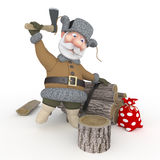 The grandfather with a sledge. Royalty Free Stock Photography