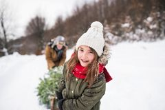 Grandfather and small girl getting a Christmas tree in forest. Royalty Free Stock Images