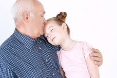 Grandfather spending time with granddaughter Royalty Free Stock Photography