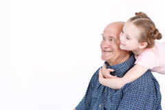 Grandfather spending time with granddaughter Royalty Free Stock Images