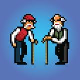 Grandfather talking pixel art style. Illustration vector illustration