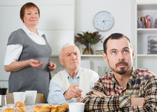 Grandfather teaches grandson Stock Images