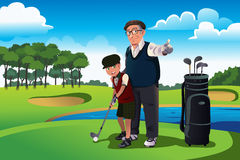 Grandfather teaching his grandson playing golf. A vector illustration of grandfather teaching his grandson playing golf Stock Image