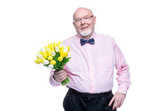 Grandfather with tulips Royalty Free Stock Images