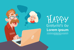 Grandfather Using Laptop Social Network Happy Grandparents Day Banner. Flat Vector Illustration Royalty Free Stock Image