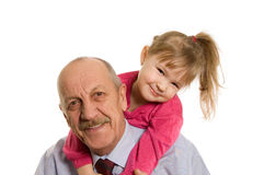 Grandfather With The Granddaughter Happy Stock Photo
