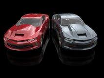 Grandi automobili impressionanti rosse e grigio scuro metalliche del muscolo fotografia stock