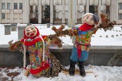 Grandi bambole per Maslenitsa Fotografie Stock