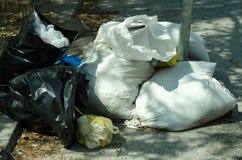 Grandi bidoni della spazzatura del bidone della spazzatura del metallo in pieno della lettiera di straripamento che inquina la vi Immagini Stock Libere da Diritti
