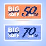 Grandi carte di vendita di estate illustrazione di stock