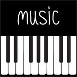 Grandi chiavi del piano e musica bianca di parola. Carta Fotografie Stock Libere da Diritti