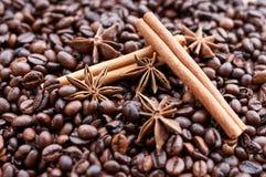 Grandi chicchi di caffè aromatici, spezia dell'anice per i dolci, dolci, bastoni di cannella e chiodi di garofano Generi differen fotografia stock