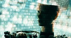 Grandi cifre di dati, comunicazione del robot di ai immagini stock