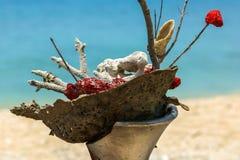 Grandi coralli asciutti bianchi, rossi, marroni e 2 anelli di nozze disposti Fotografia Stock