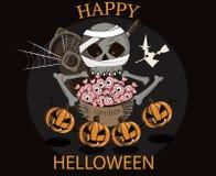 Grandi cranio di Halloween ed ossequio sotto forma di occhi illustrazione vettoriale