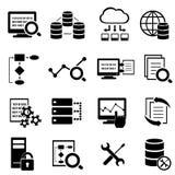 Grandi dati, computazione della nuvola ed icone di tecnologia Fotografie Stock Libere da Diritti
