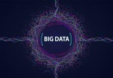Grandi dati Flusso di informazioni visivo dai punti e dalle linee illustrazione di stock